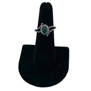 Vintage Green Emerald Sterling Silver Ring